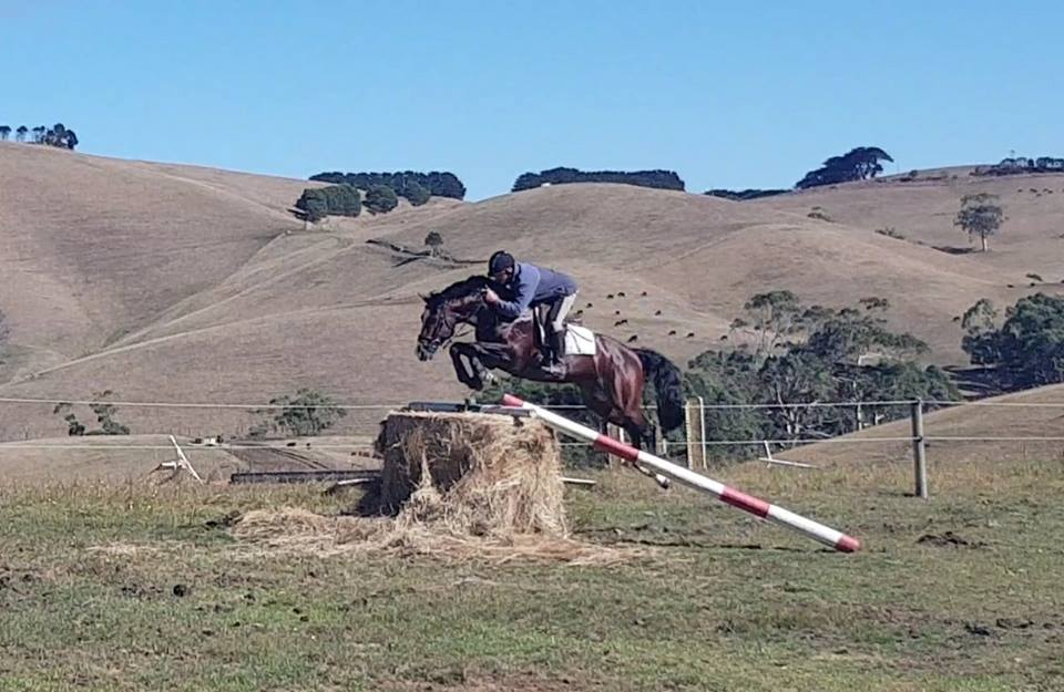 Wes jumping the hay bayle with Oaks Volta